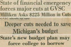 Newspaper headlines from the early 1980s reflect the financial stress of the era.